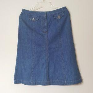 Talbots Denim Button Front Skirt Pockets